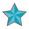 blue star funny comic cartoon decoration icon vector illustration