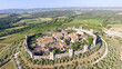 Beautiul aerial view of Monteriggioni, Tuscany medieval town on the hill - 157617380
