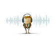 Illustration of a sound wave and in the middle of this there is a man with a headphones. isolated, white background