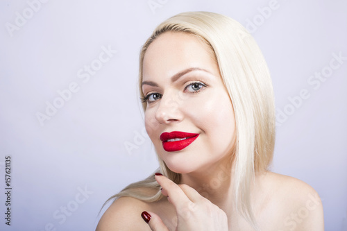 Blue-eyed blonde with red lipstick Poster