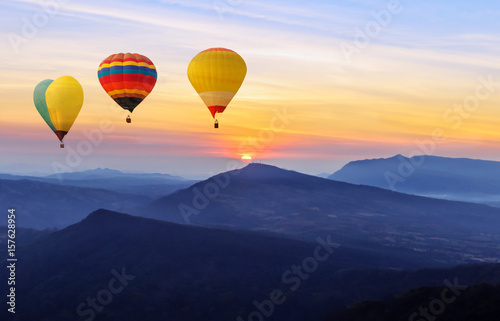 Deurstickers Ballon Beautiful sunrise and sky with mountain landscapes