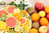 sliced grapefruit ,lemons,kiwi,tangerines and oranges