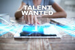 Постер, плакат: Woman using tablet pc pressing on virtual screen and selecting talent wanted