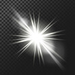 Vector illustration of a white glowing light effect with rays and lens flares isolated on a dark translucent background