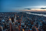 Manhattan skyline from above at the sundown, New York City