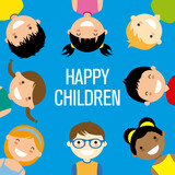 Group of smiling children. Isolated vector