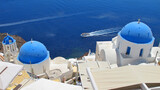 Photo of iconic Santorini volcanic island at summer, Cyclades, Greece