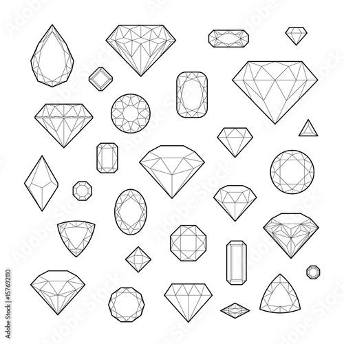 Diament, ikona set, wektorowa ilustracja, kreskowy projekt, odizolowywający na białym tle