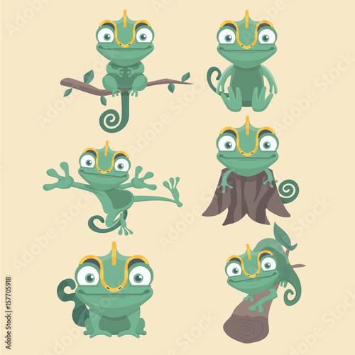 Zestaw ładny kreskówka kameleon.