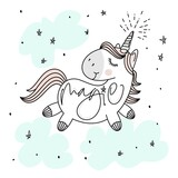 Fototapety Magic cute unicorn, stars, clouds and hand lettering poster, greeting card, vector illustration with outline