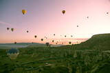Beautiful balloons in sunrise light in Cappadocia