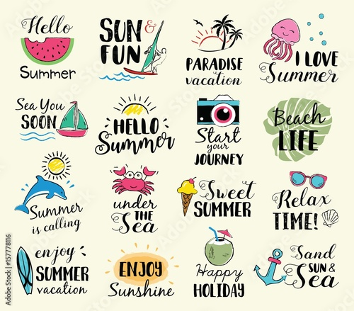 Summer labels, logos, hand drawn tags and elements set for summer holiday, travel, beach vacation, sun. Vector illustration.  - 157778116