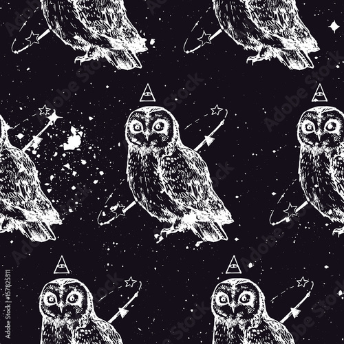 Modern repeated pattern. Seamless texture with mad owl. Background for people who have sleepless. It can be used as wallpaper, upholstery, wrapping, fabric or your design. - 157825511
