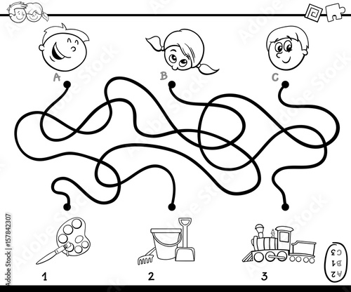 maze paths activity game for coloring