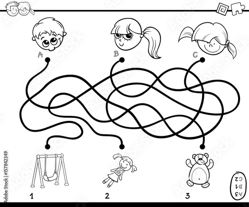 maze paths activity coloring page