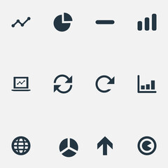 Vector Illustration Set Of Simple Statistic Icons. Elements Analytics, Repeatability, Surge And Other Synonyms Progress, Graph And Earth.