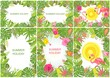 Summery tropical backgrounds with exotic flowers, leaves and flamingo