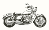 Fototapety Vector illustration of hand-drawn vintage motorcycle. Classic chopper in ink style. Print, engraving, template, design element