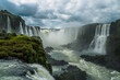 Iguazu falls in a cloudy day