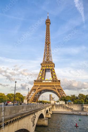The Eiffel Tower  and River Seine Champ de Mars Paris France Europe Poster