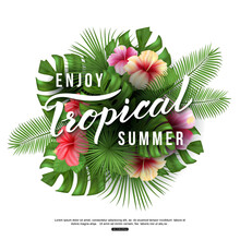 Palm Leaves And Flowers  Enjoy Tropical Summer Text    Illustration Sticker