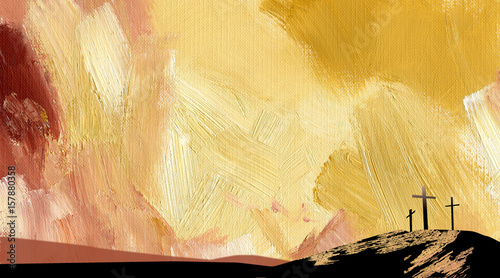 Graphic abstract background Calvary crosses yellow