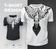 Abstract modern t-shirt print design with dead deer.