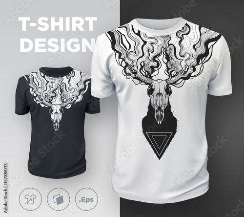 Abstract Modern T Shirt Print Design With Dead Deer Buy Photos
