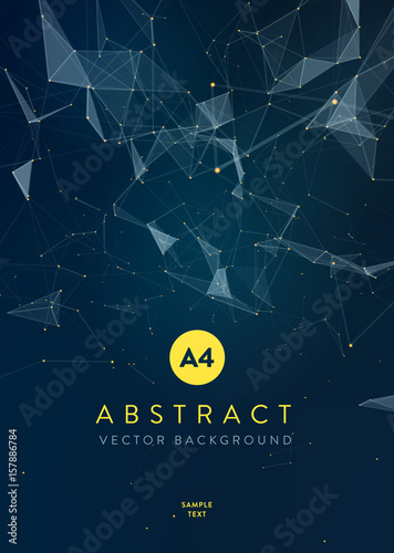 Wall mural 3D Abstract Mesh Background with Circles, Lines and triangular Shapes Design Layout for Your Business