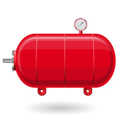 Red pressure vessel for water, gas, air. Pressure tank for storage of material, water. Valves, measuring unit, handles. Flatten icon illustration.