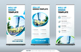 Fototapety Business Roll Up Banner stand. Presentation concept. Abstract modern roll up background. Vertical roll up template billboard, banner stand or flag design layout. Poster for conference, forum, shop