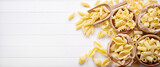 Pasta: pens, shells, rigatoni, fusilli and squid - 157912505