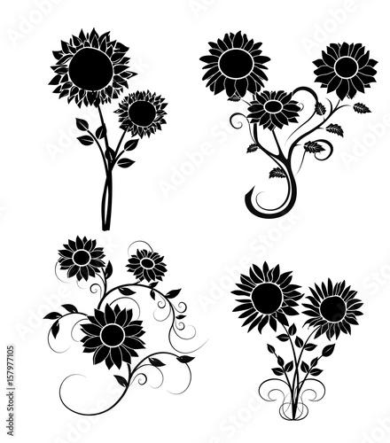 set of sunflowers silhouette 2