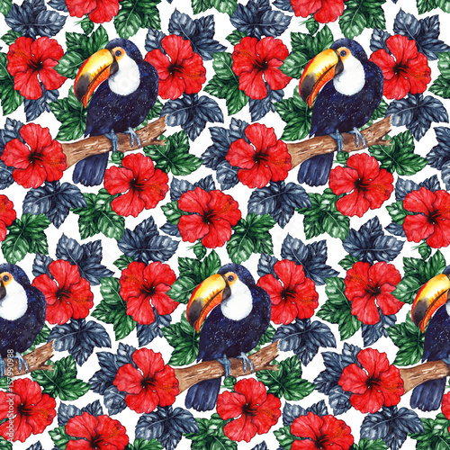 Obraz na Szkle Watercolor exotic tropical flower hibiscus animal bird toucan seamless pattern texture background