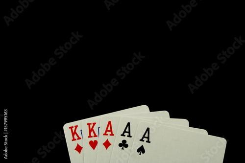 Poker Hand Full House on Black Background плакат