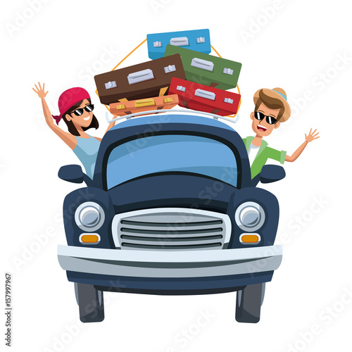 Fotobehang Auto cartoon character travelers with vintage car with luggage on top vector illustration