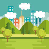 Mountains landscape with trees and city skyline vector illustration