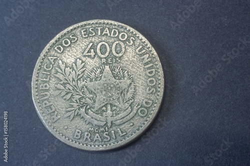 Poster Brazil four hundred Reis 1901, Liberty tail coin, vintage old, difficult and rare to find