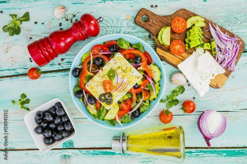 Choriatiki - Greek salad with feta cheese. Mediterranean food.