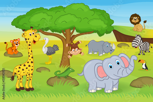 Fotobehang Zoo animals in safari - vector illustration, eps