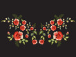 Embroidery traditional folk neck line pattern with red roses. Vector embroidered floral bouquet template with flowers and butterfly for clothing design.