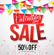 Valentines sale vector banner design with colorful hanging streamers of hearts and valentines patterns in white background. Vector illustration.