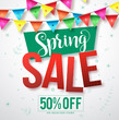 Spring sale vector banner with colorful streamers hanging and flowers and leaves pattern in white background for store promotion. Vector illustration.