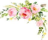 Bohemian watercolor floral wreath. Wedding decoration composition - 158077756