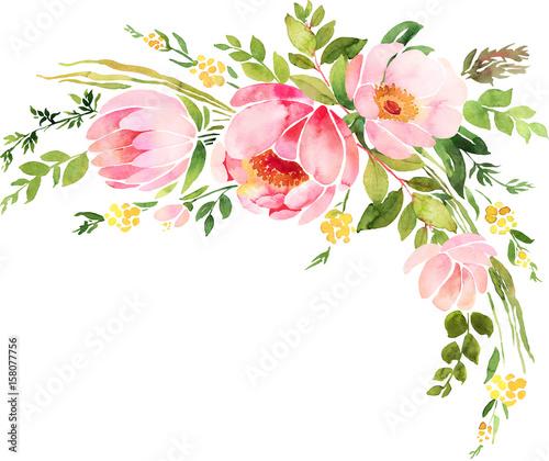 Bohemian watercolor floral wreath. Wedding decoration composition