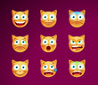 Set of Cute Emoticon Cat on Black  Background. Isolated Vector Illustration
