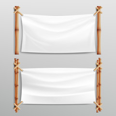 Bamboo Frame With Realistic Paper Background. For Your Message. Empty Canvas For Text. Realistic Illustration.