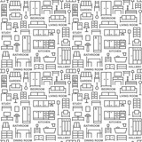 Furniture themed vector seamless outline pattern background 3 - 158101345