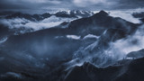 High mountain landscape in dramatic atmosphere