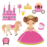Little Princess Castle And Carriage Wall Sticker